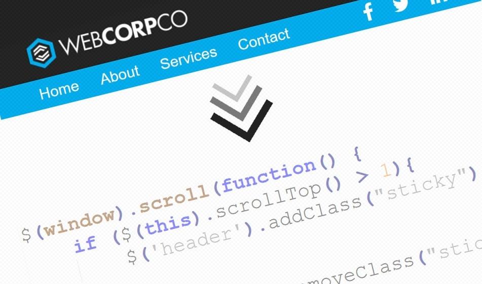 Przyklejony nagłówek w html, js i css, sticky header