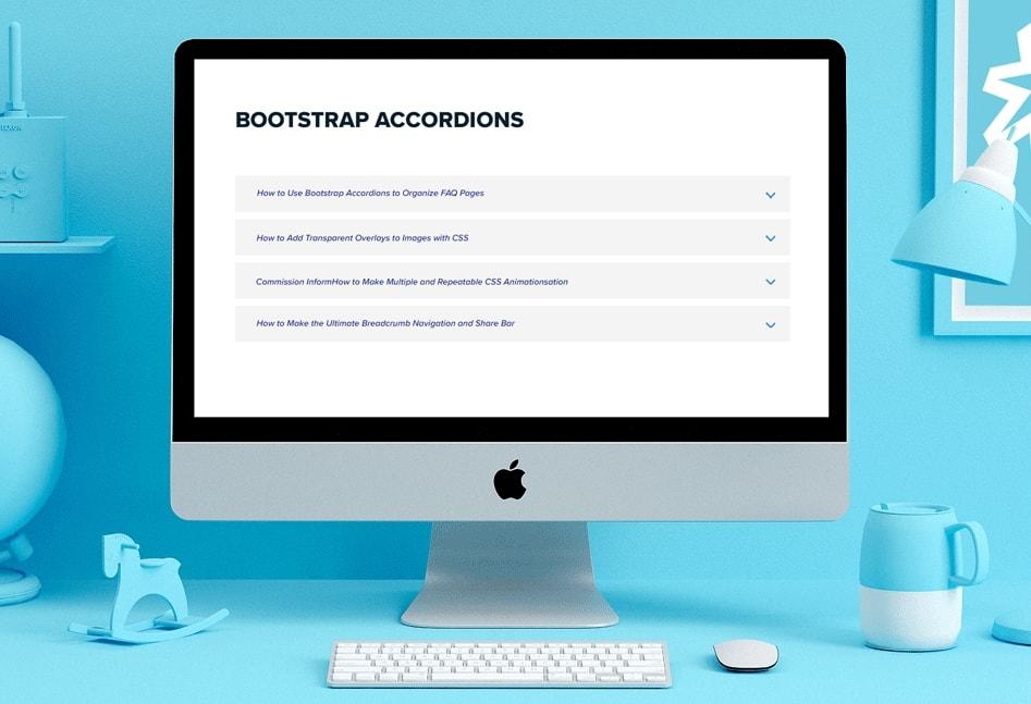 Rozwijana lista accordion w html, js, css, bootstrap